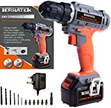 Terratek Fast Charge 18V Lithium-Ion Cordless Drill Power Driver, 13pc Accessory Kit, Variable Speed, and Powerful Screwdriver