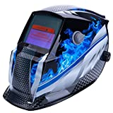 TOOGOO Welding Helmet Mask Solar Auto Darkening,Adjustable Shade Range DIN 9-13/Rest DIN 4,Welder Protective Gear ARC MIG TIG (Blue Racer)