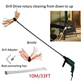 ICOCO 10M/33FT Professional Chimney Pipe Sweep Cleaning Sweeping Tool Kits Drill Powered Rotary Chimney Brush DIY Set with with Nylon Flexible Rods ¡­