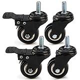 MultiWare 4 x Heavy Duty 50mm Rubber PU Swivel 200kg Castor Wheels Trolley Furniture Caster - Screw