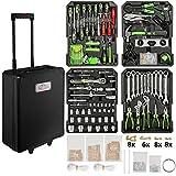 TecTake 899 Pcs Aluminium metal tool box kit set storage trolley black | smooth wheels | filled with tools