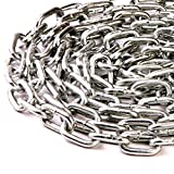 6.0mm x 42mm x 12mm HEAVY DUTY THICK STEEL WELDED CHAIN LINKS HANGING FENCE LONG MAXIMUM WORK LOAD 160kgs - FREE UK DELIVERY (1)