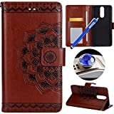 Etsue Huawei Mate 10 Lite Floral Wallet Case, Huawei Mate 10 Lite Retro Leather Case with Strap, Vintage Mandala Flower Pattern Pu Leather Wallet Flip Case with with Stand Feature Magnetic Closure Card Slots for Huawei Mate 10 Lite+Blue Stylus Pen+Bling Glitter Diamond Dust Plug(Colors Random)-Mandala Flower,Brown