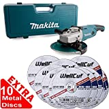 Makita GA9020KD 9in/230mm Angle Grinder 240V + 3.2mm Metal Cut Discs Pack of 10