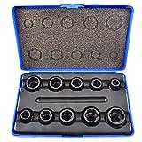 10pc 3/8' Bolt Nut Twist Socket / Wheel Lock Nut Remover / Extractor Set AT080