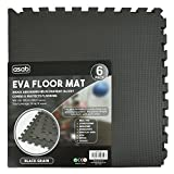 Interlocking EVA Foam Floor Mats And Edges - Playmat - Gym Tiles - Childrens Play Area Flooring Set - Black- 1 Pack (6 Floor Mats)60x60cm