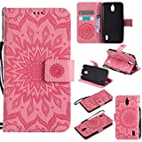 For Huawei Y625 Case [Pink],Cozy Hut [Wallet Case] Magnetic Flip Book Style Cover Case ,High Quality Classic New design Sunflower Pattern Design Premium PU Leather Folding Wallet Case With [Lanyard Strap] and [Credit Card Slots] Stand Function Folio Protective Holder Perfect Fit For Huawei Y625 (5,0 Inch) - Pink