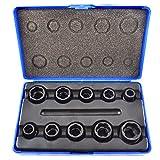 Locking Wheel Nut Removers 11pc Nut Bolt Stud Extractor Twist Socket Set