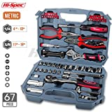 Hi-Spec 67pc Auto Mechanics Tool Kit including Professional 3/8' Quick Release Ratchet Handle with 72 Teeth, 4-19 mm Metric Sockets, Combination & Long Nose Pliers, Adjustable Wrench, Bit Driver with Most Popular Screwdriver Bits, Voltage Tester & Metric Hex Key Set in Compact Storage Box