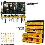 Plastic Pegboard Toolboard Parts Bins Kit & Extra Hooks Garage Storage Wall Starter Kit
