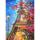 Greatmin DIY 5D Full Drill Diamond Painting Rhinestone Embroidery Cross Stitch Arts Craft for Home Decoration Tower in the Flowers 11.8 x 15.7 inches