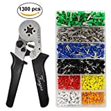 Crimping Plier Set,1300Pcs Wire Terminal Crimp Connector Ferrule Cord Pin End with 0.25-6mm² Self-Adjustable Ratchet Wire Crimping Tools
