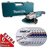 Makita GA9020KD 9inch/230mm Angle Grinder 240V + 2mm Metal Cut Discs Pack of 6
