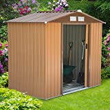 Outsunny Lockable Garden Shed Large Patio Roofed Tool Metal Storage Building Foundation Sheds Box Outdoor Furniture (6 x 4 FT, Khaki)