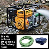 Wolf 2' Water Pump & 5m 2' Suction Hose & 10m 2' Delivery Hose