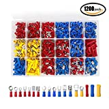 1200pcs Wire Connectors, Wire Terminals, YOCZOX Assorted Insulated Electrical Terminal Connector Kits, Wire Crimp Connector Tool Box with 18 Types, Crimp Connectors Ring Fork Butt Spade Male & Female Connectors Set