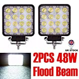 dicn Pair LED Work Lights Flood Beam 48W 12V 24V Driving Lamps Floodlights Waterproof Square for Off Road Cars Trucks SUV ATV UTV Tractors 4WD