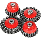 tinkertonk 4pcs Twist Knot Wire Brush Set Kit, Fit For 115mm Angle Grinder