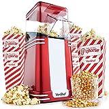 VonShef Vintage Popcorn Maker – Retro Hot Air Popcorn Machine Popper with 6 Popcorn Boxes