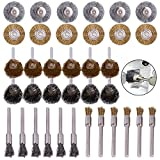 SROL 3mm Brass & Steel Wire Polishing Wheels Brushes Set for Dremel Die Grinder Rotary Tools 36pcs