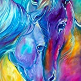 DIY 5D Diamond Painting by Number Kits, Crystal Rhinestone Diamond Embroidery Paintings Pictures Arts Craft for Home Wall Decor,Full Drill, Two Blue Horses