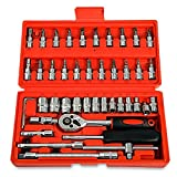 OutLife 1/4 Inches Socket Wrench Set 46pcs Portable Car Repair Tools Kit with Ratchet Driving Socket and Carry Case