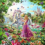 5D DIY Diamond Painting by Numbers Kits, Crystal Embroidery Cross Stitch Rhinestone Mosaic Drawing Art Craft Home Wall Decor, Red Dress Girl and Unicorn
